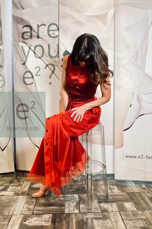 Kleid VAMIL red, Seidenstretch